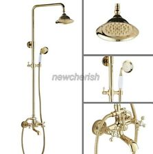 Golden Brass Bathroom Wall Mounted Rain Shower Faucet Set Tub Mixer Tap ngf357