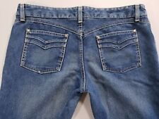 """Hurley Womens Sz 32 x 31.5""""  Button Fly Mid Wash Blue Denim Stretch Flare Jeans"""
