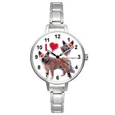 I Love Norwegian Elkhound Dog Unisex Round Italian Charm Band Wrist Watch Bm382