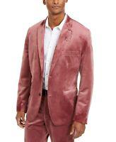 INC Mens Blazer Suit Jacket Pink Size 2XL Velvet Slim Fit Notch Collar $149 #100