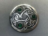 Celtic Brooch Silver Tone Round Shield Green Glass Vintage Costume Jewellery