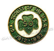Girl Scout PIN Official 50th Anniversary 1962 Trefoil Excellnt GIFT Multi=1 Ship