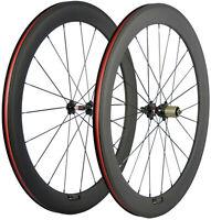 60mm Road Bike Clincher Wheelset Full Carbon Fiber Wheels 700C 25mm U Shape Bike