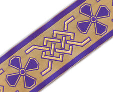"Very Wide, Christian, Celtic, Jacquard Trim. Purple  3¾"" wide, 3 Yards"