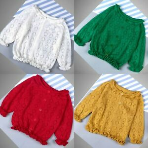 Girls Cardigan Spring Autumn Loose 3/4 Sleeve Knitted Jumpers Age 2-12 Years