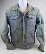 Vintage Wrangler Lined Denim Painter Artists Jacket Size 38 distressed destroyed