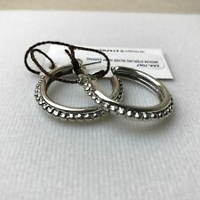 NEW STEPHEN DWECK 925 Silver Beaded Caviar Slim Hoop Post Earrings NWT $225