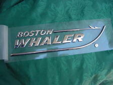 "BOSTON WHALER EMBLEM CHROME NEW 8-3/4"" X 2"" PEEL AND STICK ABSOLUTELY GENUINE"