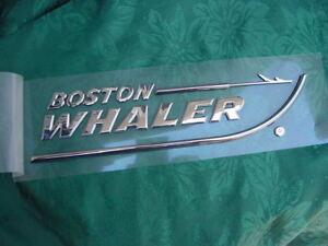 "BOSTON WHALER EMBLEM CHROME NEW 8-3/4"" X 2"" PEEL AND STICK ABSOLUTELY GENUINE"