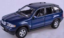 1:24 Scale Model BMW E53 X5 4x4 4.4i V8 73254 E53 SUV 1999 Blue Motormax Diecast