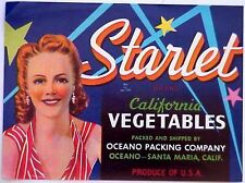 *Original* STARLET 1950's Hollywood Glamour Girl Pin-up Veg Label NOT A COPY!