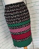 MARC CAIN Pull On Knee Length Pencil Skirt Sz N2 UK 10 Pink Green Leopard / b42