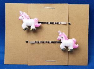 UNICORN PINK Fantasy Animal - Handmade Bobby PIn Hair clips - Set of 2 - SALE