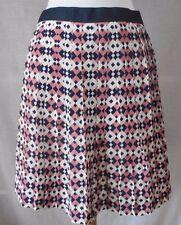 J Crew Pleated A-Line Mini Skirt Sz 0 XS 100% Silk Geometric Navy Pink White