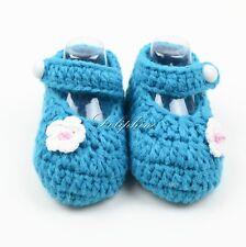 Baby Shoes Girls Crochet Knit Socks Crib Infant Aqua Shoe for baby 0-6 M