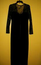 Kathie Lee Vtg Black Velvet Sheer Lace Maxi Long Evening Party Dress Women Sz 10