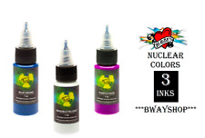 MOMS Tattoo Nuclear Ultra Violet UV Blacklight Ink 3 Colors Set B Bottle 1 oz