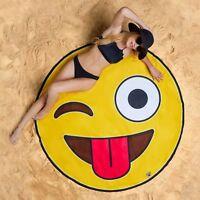 GIANT 5 FT Crazy Smiley Emoji - Beach Pool Shower Towel Blanket - BigMouth Inc.