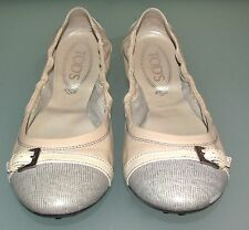 Tod's Beige Leather Cap-Toe Packable Women Ballet Flats, Sz 39 - Made In ITALY