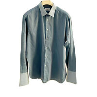 BRIONI SHIRT SIZE L GRAY COTTON BUTTON UP LONG SLEEVE MADE IN ITALY