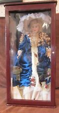 "22"" Porcelain Doll W/ 23 1/2"" Wood Display Case Blonde Hair Blue Eyes Blue/White"