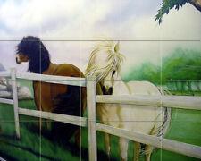 21.25 x 17 Art Horses Farm Landscape Ceramic Mural Backsplash Bath Tile #2212