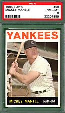 1964 Topps MICKEY MANTLE #50 PSA 8 New York YANKEES HOF!! (7989)