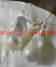 Beautiful huge 14-22mm baroque White Natural Pearl  earrings