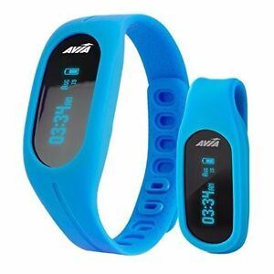 New Avia TEMPO App-Based Fitness Tracker Duo Wear Wristband and Belt Clip BLUE