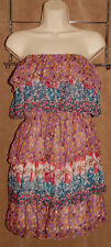 MM Couture / MISS ME - Colorful - Floral - 100% Silk Strapless Dress sz S *Nice