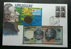 [SJ] Uruguay General José Gervasio Artigas 1980 FDC (banknote coin cover) 3 in1