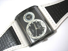 Hip Hop Big Case Leather Band 2 Time Zone Men's Watch White Item 2576