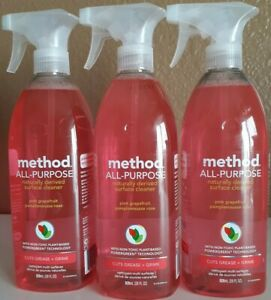 Lot Of 3 Method All-Purpose Surface Cleaner Pink Grapefruit 28 Oz Each