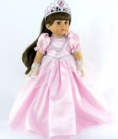 "Pink Princess Costume Gown Dress Gloves Tiara for 18"" Doll Clothes American Girl"