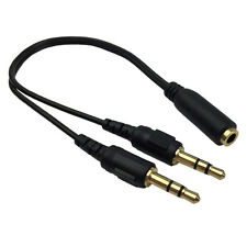 3.5mm  AUX Audio Mic Headphone Splitter Cable Earphone Adapter Female to 2 Male