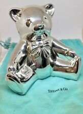 Large Tiffany & Co 925 Sterling Silver Teddy Bear Piggy Bank With Original Pouch