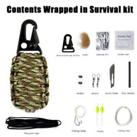 Survival Kit Paracord Grenade Fire Starter Camping Gear Fishing Tool Outdoor Set
