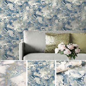 Muriva Elixir Liquid Marble Wallpaper Metallic Shimmer Swirl Smooth Blue 166504