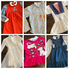 Vintage Girls Clothes 5 6 Dress Lot Pinafore Tops 70s 80s 90s A3 Retro
