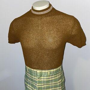 Vtg 50s 60s Mens Medium Sweater Shirt S/S Brown Knit Polyester Midcentury Mod
