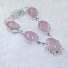 "Handmade Pink Rose Quartz Gemstone Pure 925 Sterling Silver Necklace 19"" #A1018"