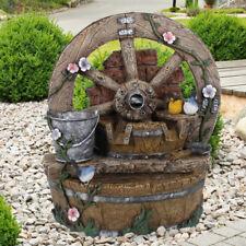 Außen Spring Zier Brunnen Garten Grundstück Stein Rad Optik Wasserspiel braun