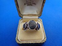 VINTAGE STERLING SILVER & ONYX MODERNIST RING