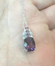 """925 Thailand  marked Sterling Silver Amethyst Pink Pendant 5/8"""" Necklace 18"""" NWT"""
