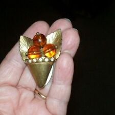 Vase With Amber Berries- Pre Owned Antique Dress Clip? Fur Clip?- Gold Leaf?