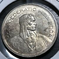 1939-B SWITZERLAND FIVE SILVER FRANCS HIGHER GRADE