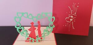 3D Pop Up Card - Romantic Couple in their Heart. Valentine's day, Engagement, An