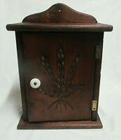 VTG Carved Wheat Print Wood Spice Wall Cabinet Shelf Porcelain Knob Country