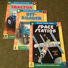 SET OF 3 PAPER MODEL CRAFT BOOKS - MAKE YOUR OWN SPACE STA, OFF-ROADER, TRACTOR