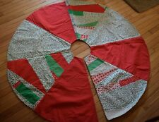 "Patchwork Christmas Tree Skirt 50"" Diameter Hand Made Red Green Designs MINT"